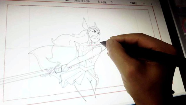 Line art for the new Netflix She-Ra, set to debut in 2018